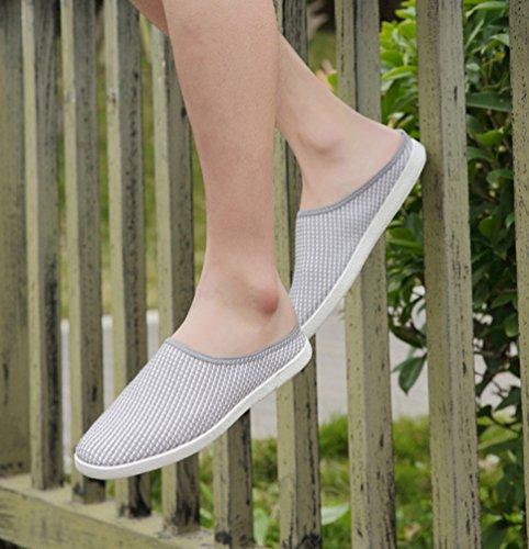 Mocasines malla caminar para On de transpirable aire Slip Boat al Casual Gris Moda libre Ligero Hombres YiLianDa Zapatos R4Aqx8R