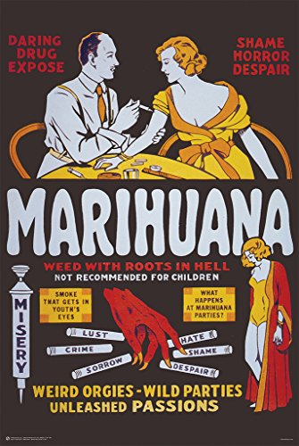 Marihuana Weed With Roots In Hell Vintage Advertisement Post