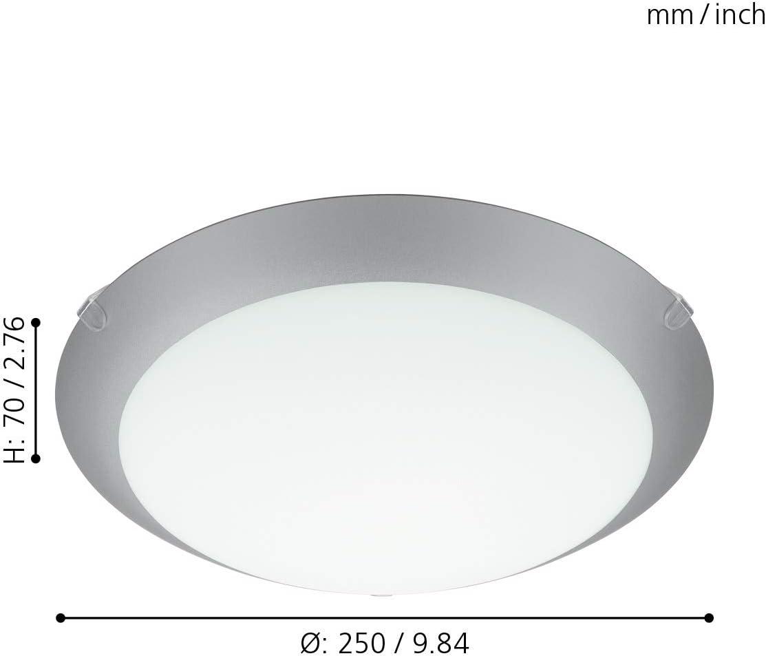 Eglo Plafonnier Mars 1 1 lampe murale culot : E27 couleur : blanc verre : blanc satin/é avec bord argent/é plafonnier en acier