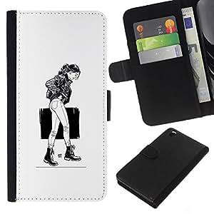 YiPhone /// Tirón de la caja Cartera de cuero con ranuras para tarjetas - Caminando Girl - B & W - HTC DESIRE 816