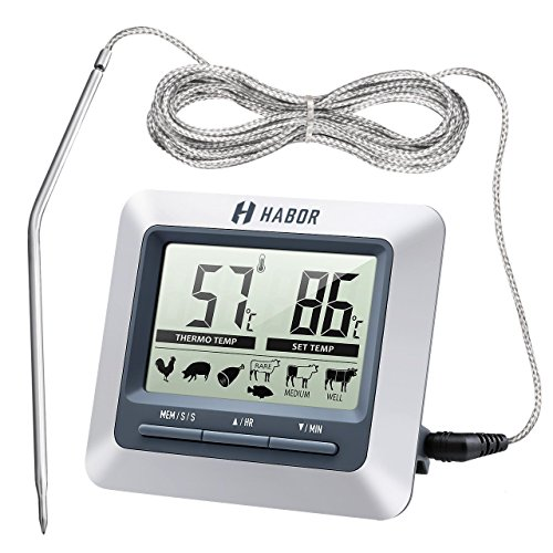 Price comparison product image Habor Instant Read Digital Meat Thermometer and Timer with Steel Probe for Cooking BBQ Smoker Grill