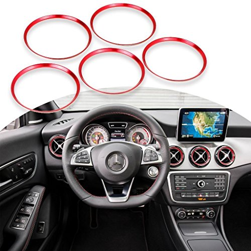 x xotic tech Red Ring Cover Trims Air Vent Outlet for Mercedes Benz CLA GLA Class 2013-18 (Outlet-mercedes)
