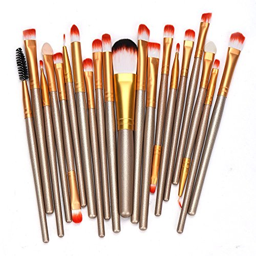 20 pcs Rose gold Makeup brushes set professional eyebrow Blush foundation hair brush pen Eyeshadow oval make up brush Cosmetics (Matt Touch Foundation Oil)