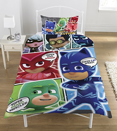-[ PJ Masks Comic Duvet Set, Polyester-Cotton, Multi-Colour, Single  ]-