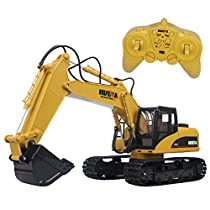 Hugine 15 Channel RC Excavator 2.4G Crawler Full-Function Remote Control Construction Tractor Digger TruckToy