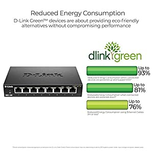 D-Link 8 Port Gigabit Unmanaged Metal Desktop Switch, Plug And play, QoS, Cable Diagnostics, Fanless design, Rugged…