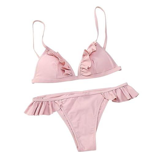 bd2ca6592 Amazon.com  NewKelly Women Sexy Push-Up Padded Bra Beach Halter Bikini Set  Swimsuit Swimwear (Pink