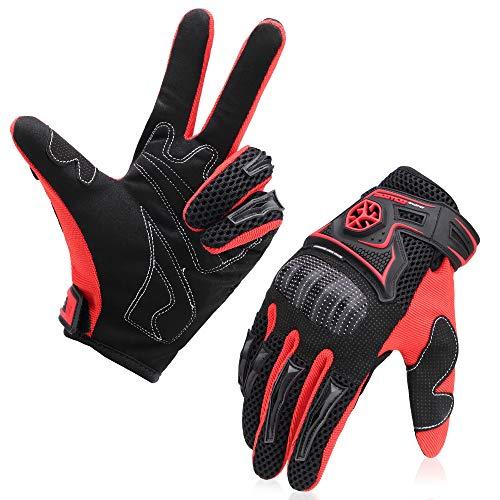 kemimoto Motorcycle Gloves Men Riding Full Finger Breathable Glove for Motocross Racing Dirt Bike ATV UTV Mountain Bike Cycling Outdoor Sports Gloves Red -