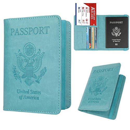 04dd75862e66 GDTK RFID Blocking Leather Passport Holder Cover Case Travel Wallet Elastic  Strap (Sky Blue)
