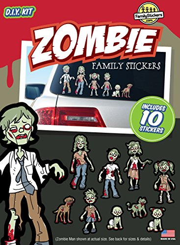 [Zombie Family Stickers Kit - Includes 10 Stickers Decals] (Zombie Family Decals)