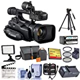 Canon XF-100 High Definition Professional Camcorder, - Bundle With Video Bag. 64GB Compact Flash Card, Tripod, 58mm Filter Kit, Spare Battery, Video Light, Cleaning Kit, Memory Wallet, And More