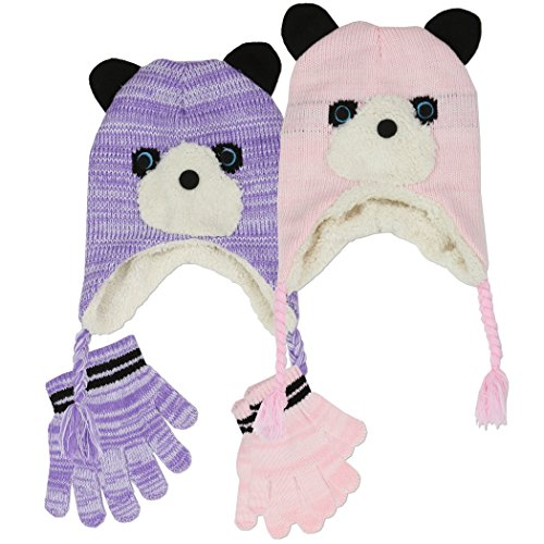 Polar Wear Toddler Girl's Adorable Bear Knit Hat with Ear Flaps & Gloves Set (Purple)