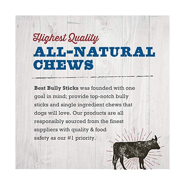 Best Bully Sticks Premium Thick Bully Sticks - All-Natural, Grain-Free, 100% Beef, Single-Ingredient Dog Treat Chew Promotes Dental Health 7