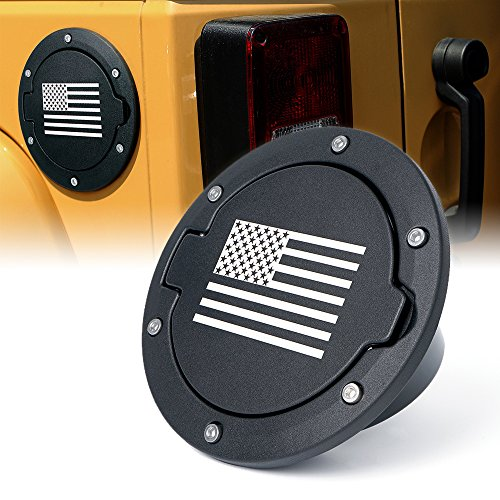oor Cover Gas Tank Cap for 2007-2017 Jeep Wrangler JK JKU-American Flag ()