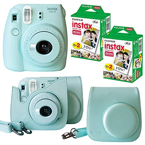 Fujifilm Instax Mini 9 Instant Camera (ICE Blue) + Bundle with Fuji INSTAX Instant Film Twin Packs X 2 (40 Sheets) + Groovy Camera Case (Ice Blue)