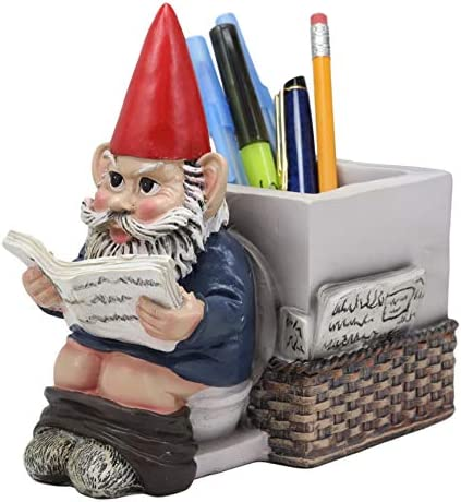 Constipated Mr Gnome With Pants Down By Toilet Bowl Stationery Holder Figurine