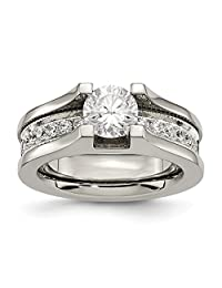 IceCarats® Designer Jewelry Titanium And Sterling Silver Cz Ring