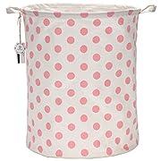 Sea Team 19.7  Large Sized Waterproof Coating Ramie Cotton Fabric Folding Laundry Hamper Bucket Cylindric Burlap Canvas Storage Basket with Stylish Pink & White Polka Dot Design