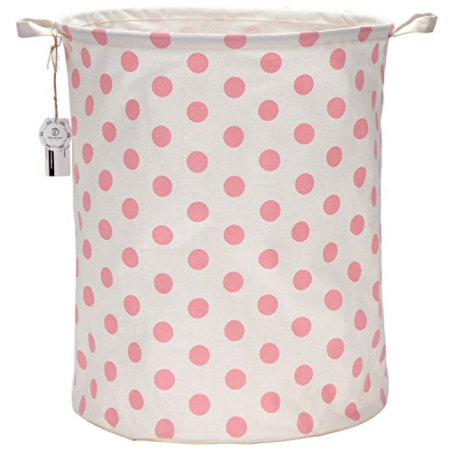 Sea Team 19.7'' Large Sized Waterproof Coating Ramie Cotton Fabric Folding Laundry Hamper Bucket Cylindric Burlap Canvas Storage Basket with Stylish Pink & White Polka Dot Design by Sea Team