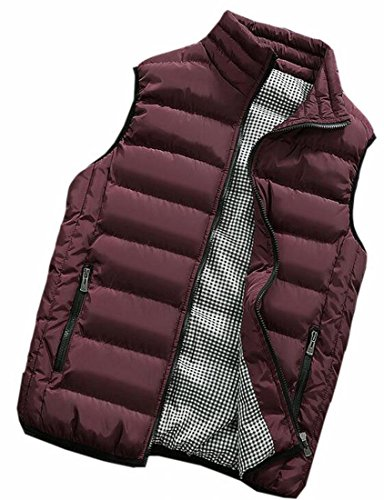Outwear Pocket Red Down today Wine Collar Classic Stand Zipper UK Vests Mens qpqxR6