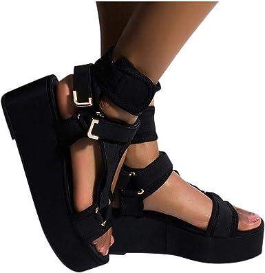 Fashion Tie-Dye Platform Sandals for Women Summer Velcro Ankle Strap Non Slip Outdoor Sandals Open Toe Wedges Casual Shoes