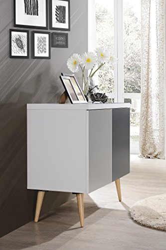 Hodedah HI690 Credenza Entry Way Accent Table, White-Grey by Hodedah (Image #2)