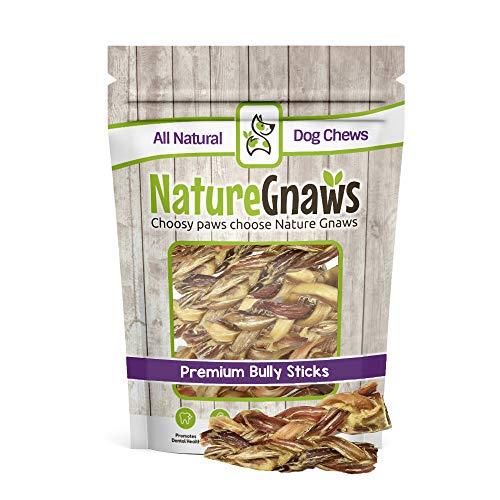 Nature Gnaws Braided Bully Stick Bites 2-4 (15 Pack) - 100% Natural Grass-Fed Free-Range Premium Beef Dog Chews