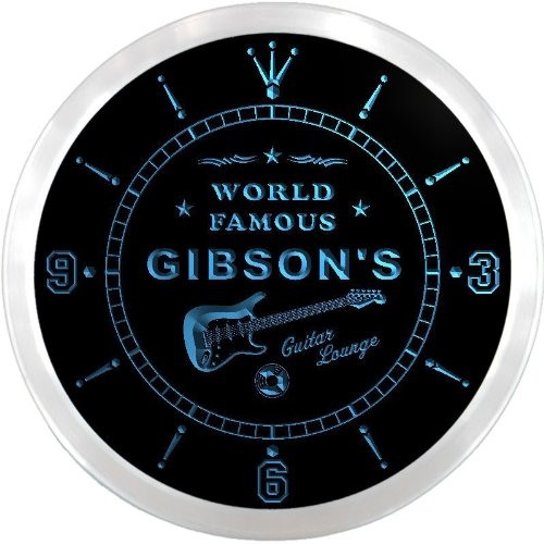 ncpf1116-b GIBSON'S Famous Guitar Lounge Beer Pub LED Neon Sign Wall Clock