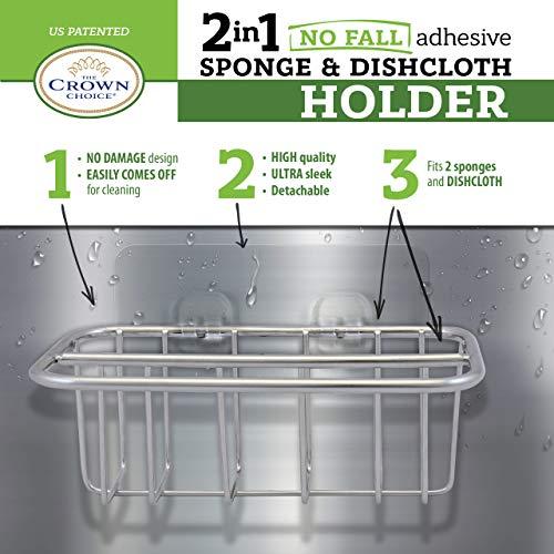 2-in-1 Kitchen Sink Caddy | Sponge + Dish Cloth Hanger Combo | Stainless Steel Kitchen Sink Organizer Holder | No Suction Dishcloth Storage for Swedish Cloths