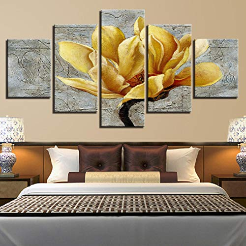 (Ssckll Canvas Hd Prints Pictures Home Decor 5 Pieces Golden Yellow Flowers Paintings Gold Orchid Posters Living Room Wall Art-Frameless)