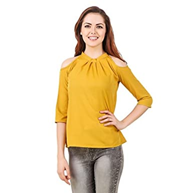 b0a64d8419f858 oneOeightdesigns Women Solid Color Cold Shoulder neck 3 4 sleeve tops  (Mustard-XL