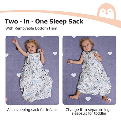 Baby Wearable Blanket, Baby Sack for Sleep, Momcozy 2 in 1 High Density TOG 1.0 Bamboo Muslin Baby Sleeping Bag Super Soft with 2-Way Zipper, Long Time Extender Use Age, Outer Space Roam White