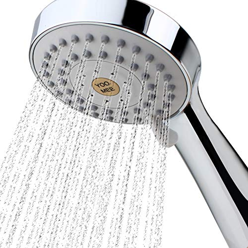 YOO.MEE High Pressure Handheld Shower Head with Powerful Shower Spray against Low Pressure Water Supply Pipeline, Multi-functions, Bathroom Accessories w/ 79'' Hose, Bracket, Flow Regulator, Chrome ()