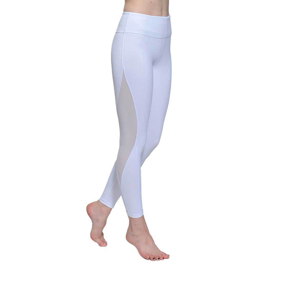 Chikool Women White Mesh Yoga Pants Athletic Workout Capri Leggings with Side Pocket
