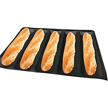 Bluedrop Hot Dog Molds Silicone Bread Forms Non Stick Bakery Trays For Sub Roll Toasting 5 Loaves 12