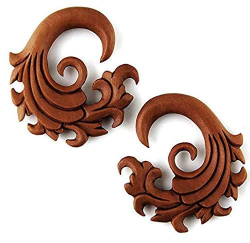JewelryVolt Pair Organic Sawo Wood Hand Carved Wave Design Ear Gauge Taper Hook Plug (10G (Gauge Organic Sawo Wood)