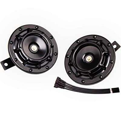 FARBIN Eletric Car Horn Super Tone 12V High Tone/Low Tone Metal Twin Horn Kit with Protective Grill (Black): Automotive