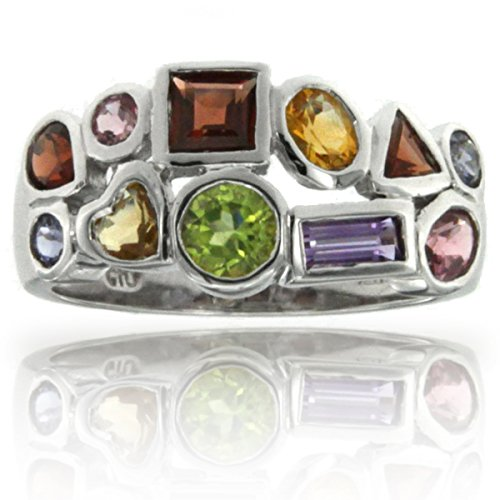 14k White Gold Cluster Set Multi-Colored and Multi-Shaped Gemstone (14k Multi Gem Ring)