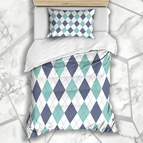 Twin Six Argyle Sock - Ahawoso Duvet Cover Sets Twin 68X86 Flannel Blue Golf Argyle Plaid Pattern Diamond Check Green Vintage Pyjamas Socks Border Checkered Microfiber Bedding with 1 Pillow Shams