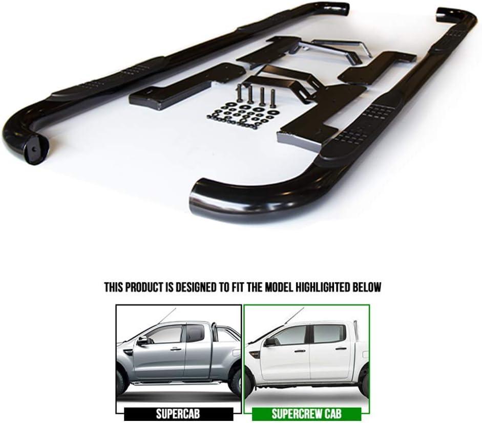 fits Ford Ranger Crew Cab 2019-2020 Premium 3 Black Powder Coated Eagle Step Bar