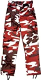 Camouflage Military BDU Pants, Army Cargo Fatigues (Red Camouflage, Size Large)