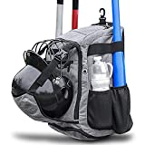 ZOEA Baseball Bat Bag Backpack, T-Ball & Softball Equipment & Gear for Youth and Adults | Large Capacity Holds 4 Bats, Helmet, Glove, Shoes | Shoe Compartment & Fence Hook & Helmet Holder Gray