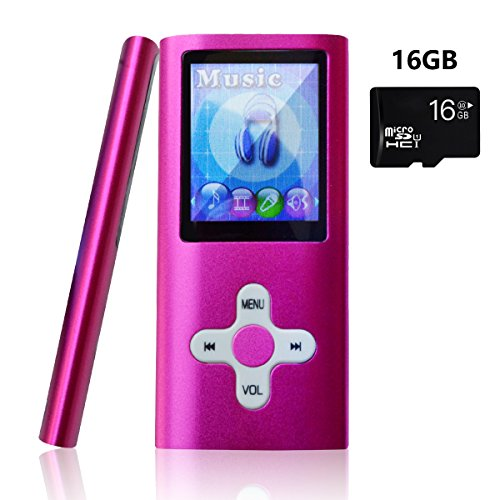 Lonve MP3 Player MP4 Player 16GB Portable Media Music Player with FM Radio Voice Recorder Supporting MP3 WMA WAV Perfect for Kids Sports Pink