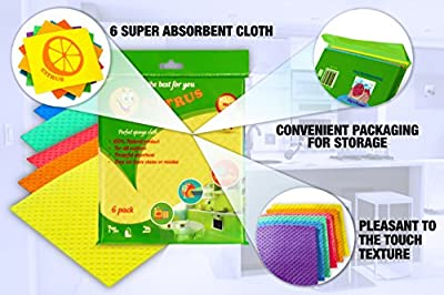 The Best Reusable Eco Friendly Dish Cloths From Natural Materials | Cellulose Sponge Cloths Multi-use and Effective for Kitchen or Wet Cleaning in House | Related to Wash cloths and Dish rags | 6 Pack