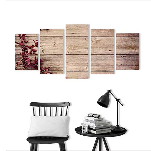 Frameless Paintings 5 Pieces Painting Barberry Branch on a Wooden to liven up and Energize Any Wall or Room.