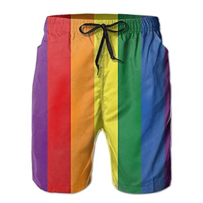 Cheap Qpkia LGBT The Rainbow Flag Men Swim Trunks Quick Dry Board Shorts Pants Pocket free shipping