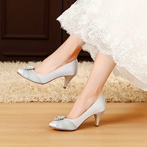c23daf749fb LUXVEER Satin Women Shoes Wedding Shoes with Rhinestone Bridal Shoes Lace  Wedding Shoes - Heels 2