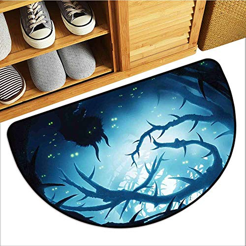 TableCovers&Home Magic Non Slip Door Mat, Mystic Decor Custom Rugs for Kids Room, Animal with Burning Eyes in Dark Forest at Night Horror Halloween Illustration (Navy White, H20 x D32 Semicircle) ()