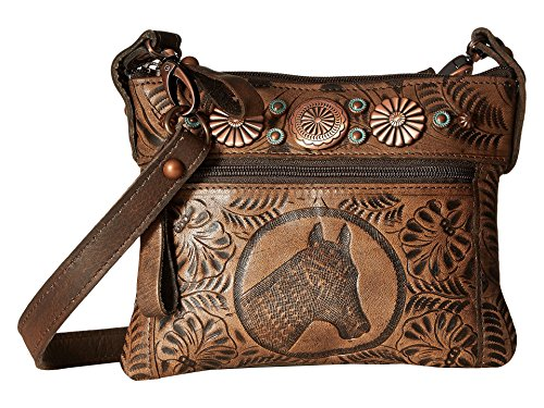 American West Women's Trail Rider Crossbody Bag Distressed Brown One Size (Handbag American West)