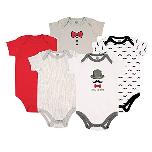 Hudson Baby Cotton Bodysuit, 5 Pack, Mustache, 12-18 Months